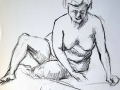 Charcoal drawing Female nude sitting