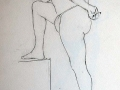 Line drawing, male foot on plinth.