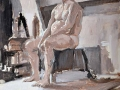 Oil Sketch, male seated