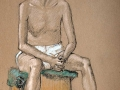 Pastel male Nude seated
