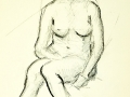 Sketch sitting female nude
