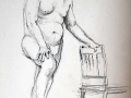 Charcoal, male nude foot on chair