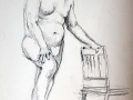 Charcoal, male nude, hand on chair