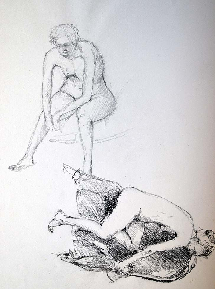Two sketches female nudes