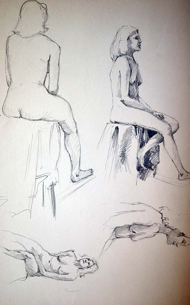 Four Sketches Female sitting nudes