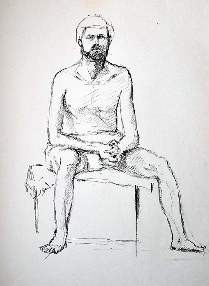 Charcoal, Seated male nude