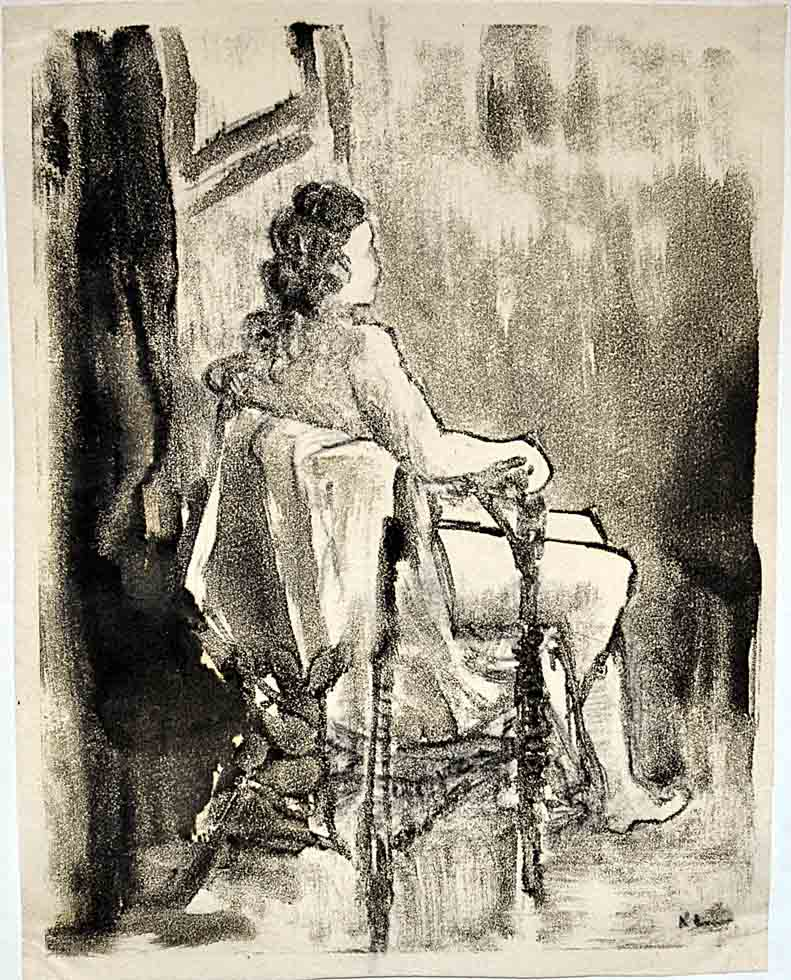 Charcoal, drawing female nude