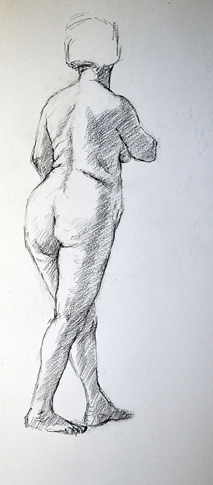Charcoal sketch Female Nude standing