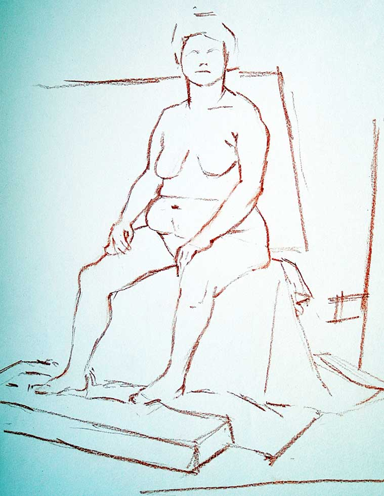 Crayon sketch, Female Nude