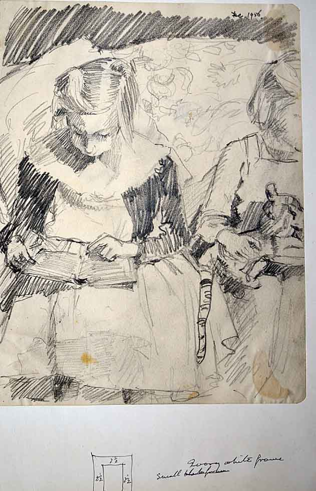 Drawing, Jenni & Caroline 1956