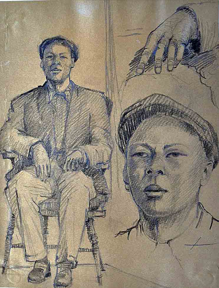 Drawing, male seated/portrait