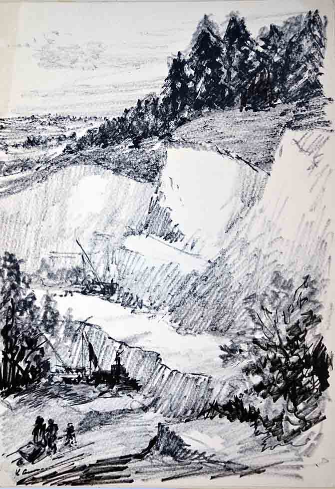 Drawing, North Downs quarry