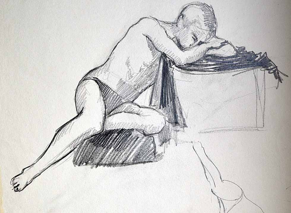 Drawing, reclining male
