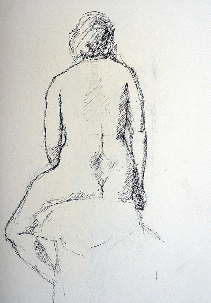Drawing, seated, back