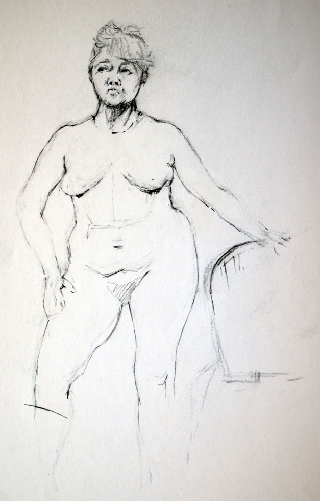 Female Nude holding chair