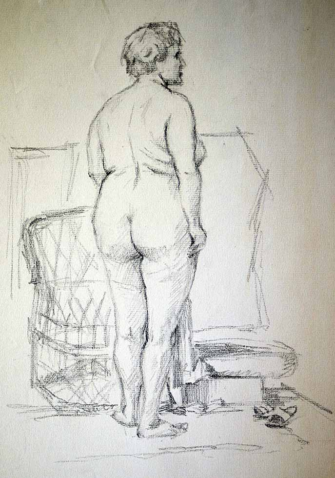 Female nude standing back