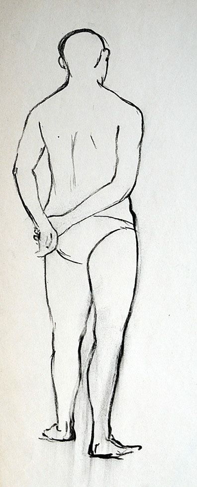 Line drawing, Male standing