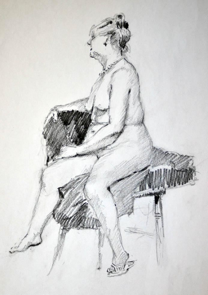 Nude sitting
