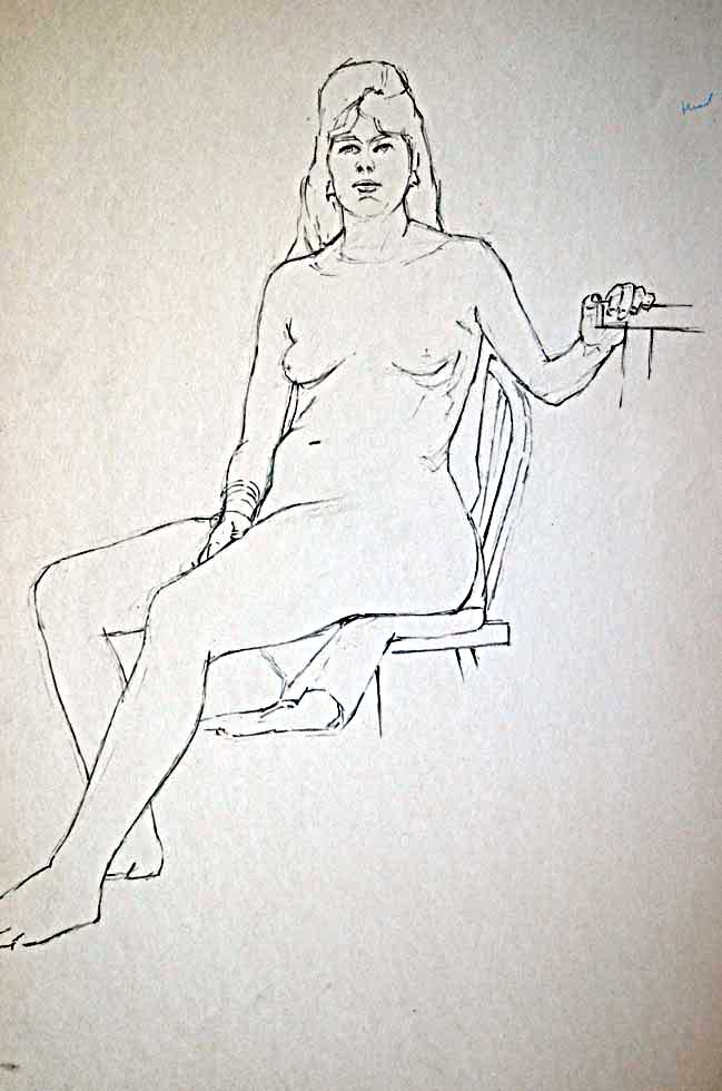 Female nude sitting