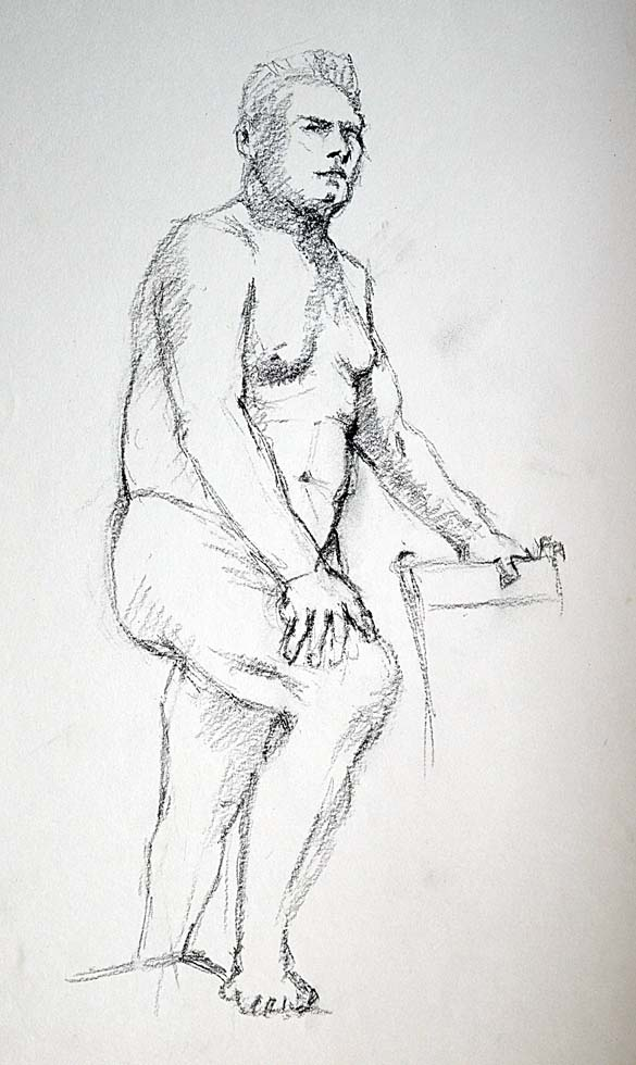 Rough sketch, male foot on step