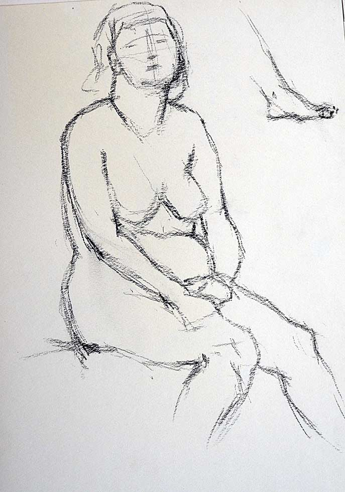 Rough sketch, female nude seated