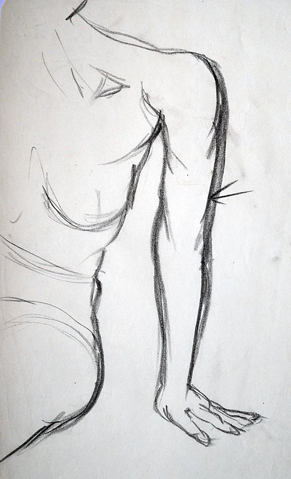 Rough sketch, half torso