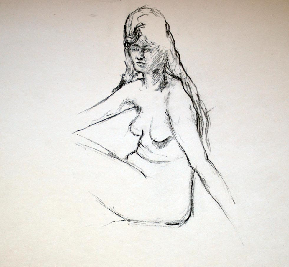Female nude, seated