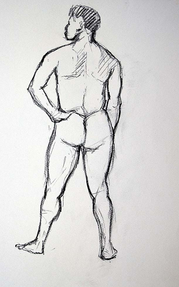 Sketch, Male nude back
