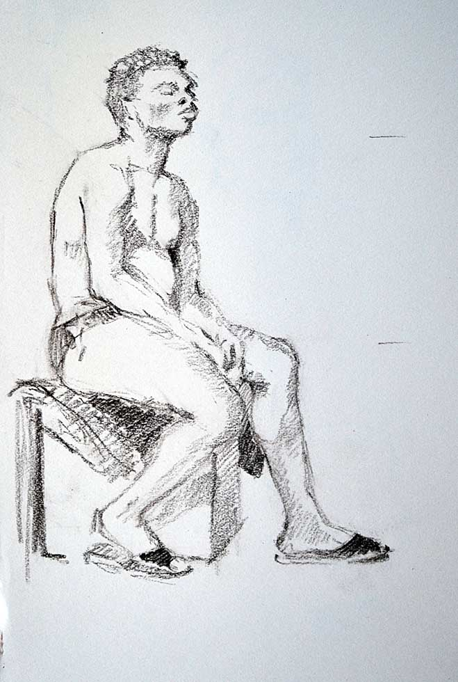 Sketch, male sitting