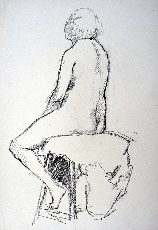 Charcoal, seated female nude