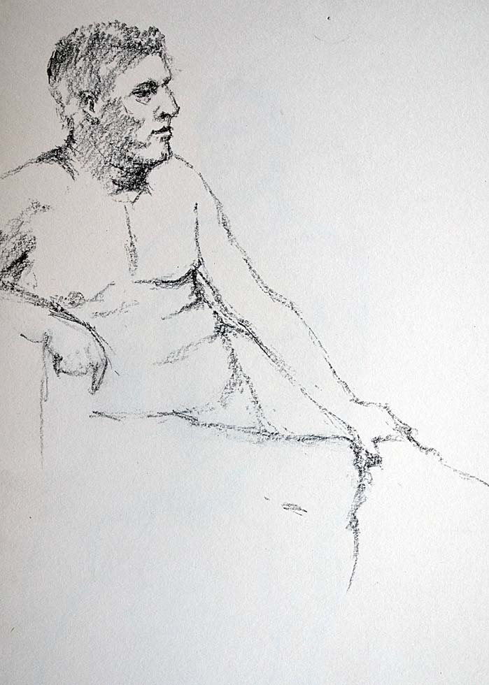 Charcoal, sitting male nude