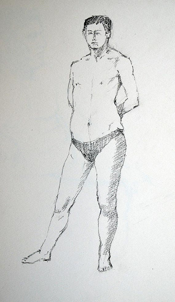 Charcoal, sketch male nude