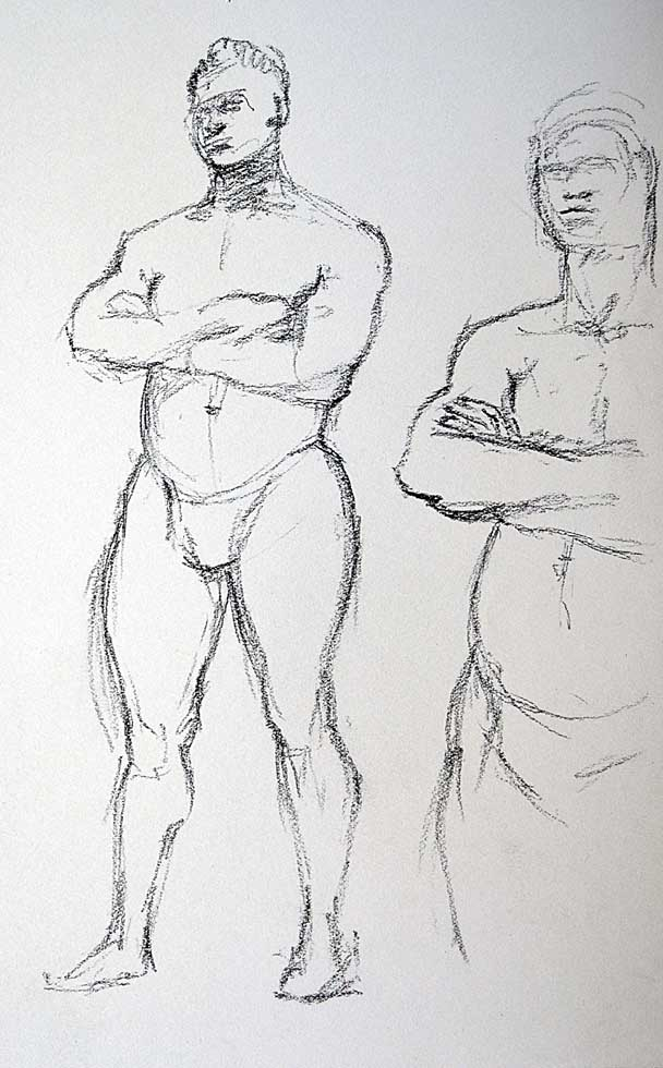 Charcoal two sletches, males nudes