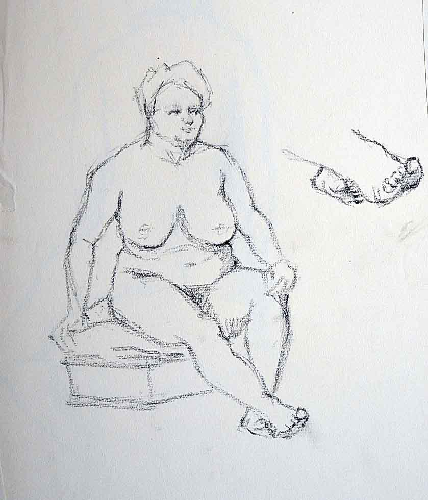 Drawing lady sitting