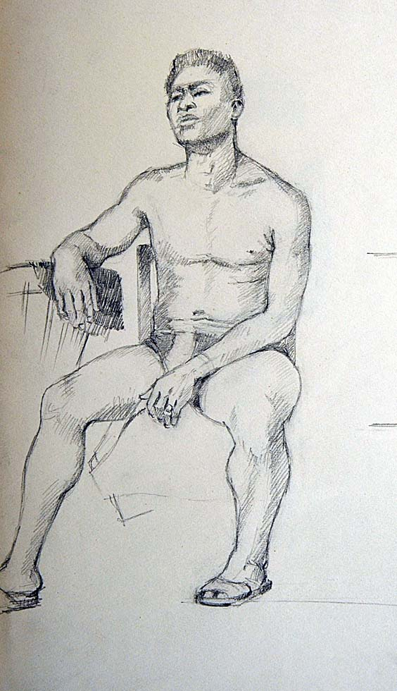 Drawing male sitting