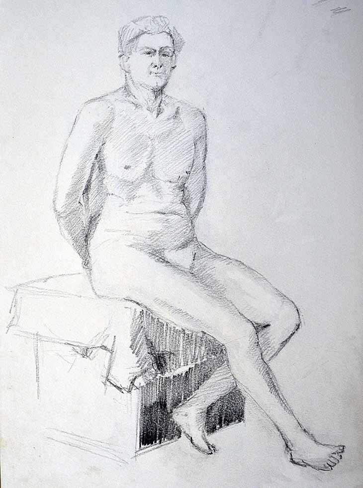 Drawing male seated