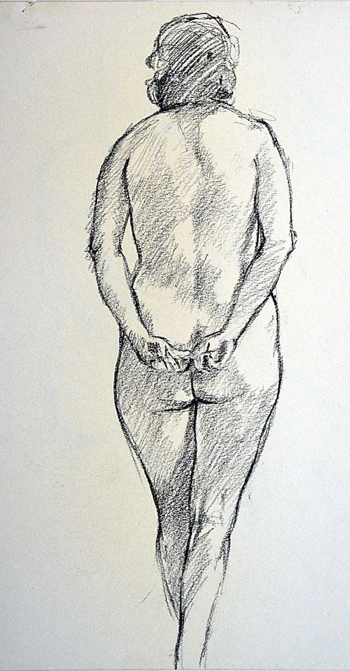 Drawing, standing nude