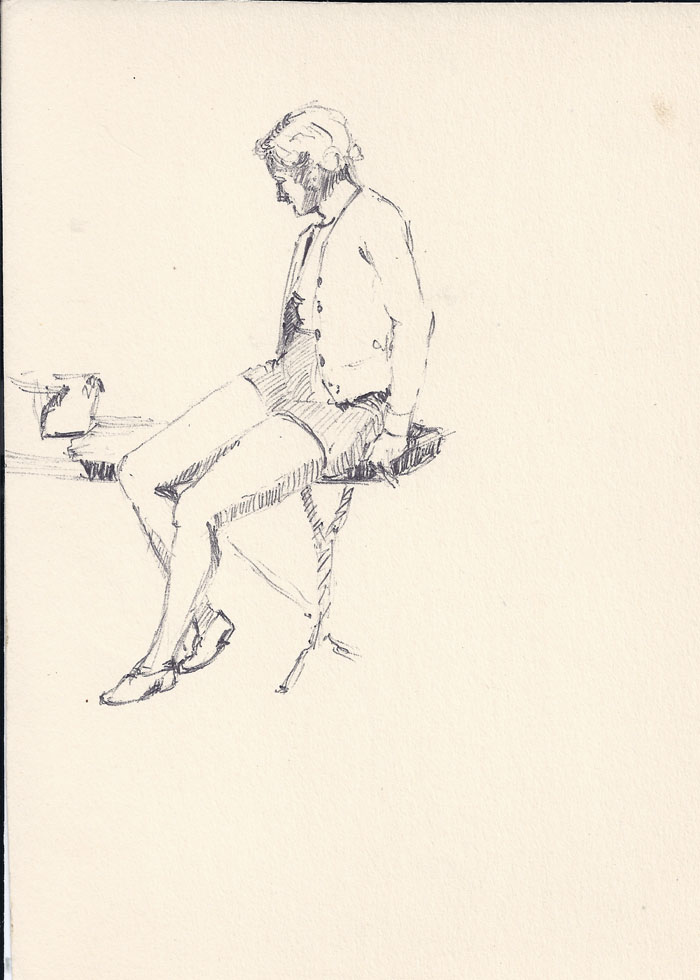 Sketch, sitting on chair