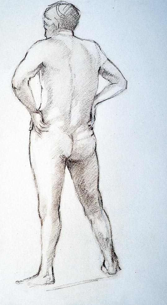Pastel, male nude standing