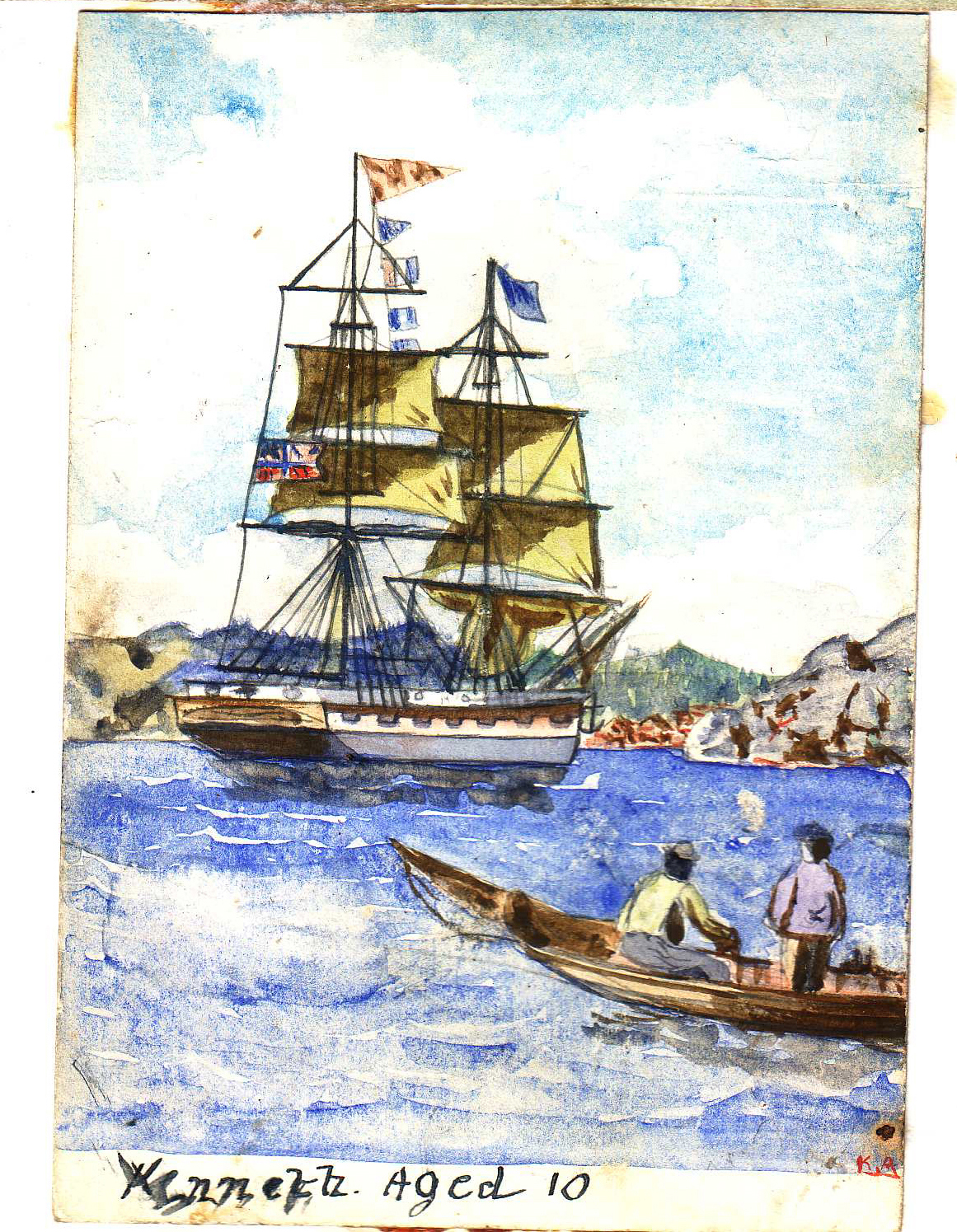 An earlier painting of a Brig. Probably Poole.Kenneth aged 10