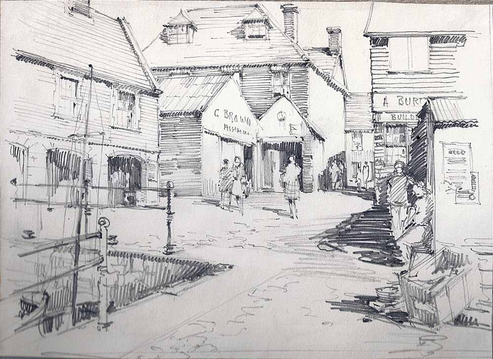 Drawing Quay side Swanage or Poole