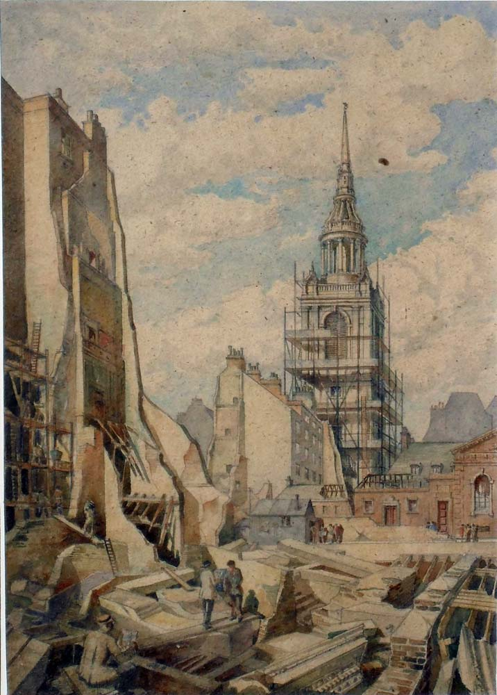 St Mary Le Bow, Cheapside, London, after the Blitz