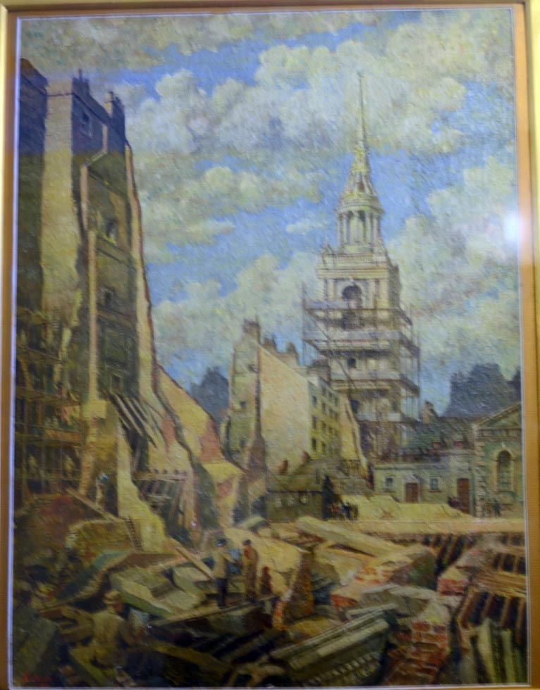 St Mary le Bow, Cheapside after the Blitz