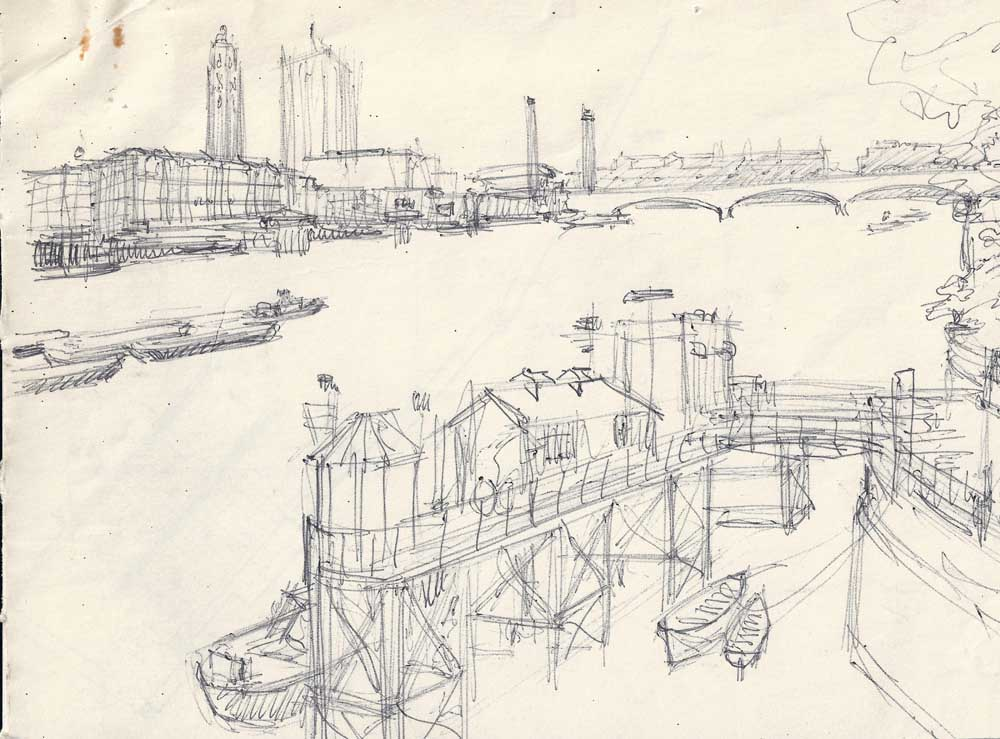 Sketch towards OXO building, river Thames
