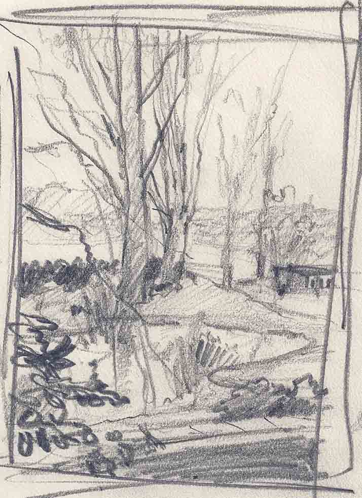 Woodland scene, Drawing
