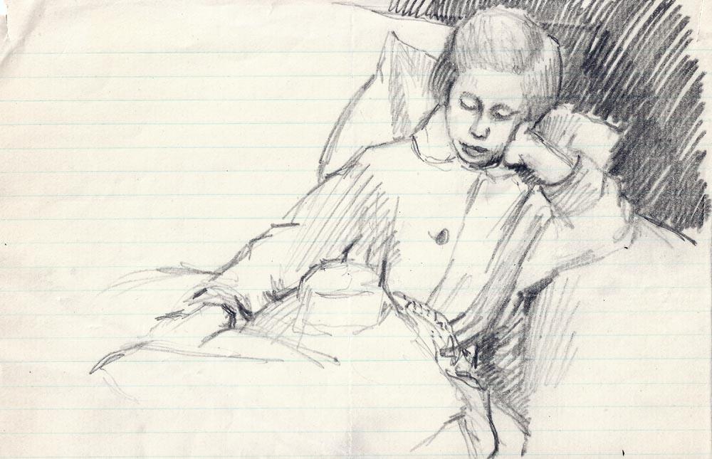 Caroline asleep,