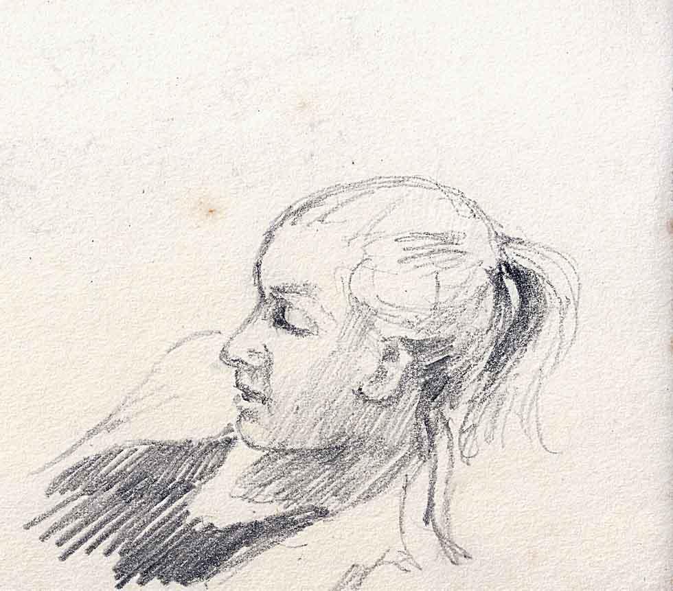 Jennie asleep, pencil