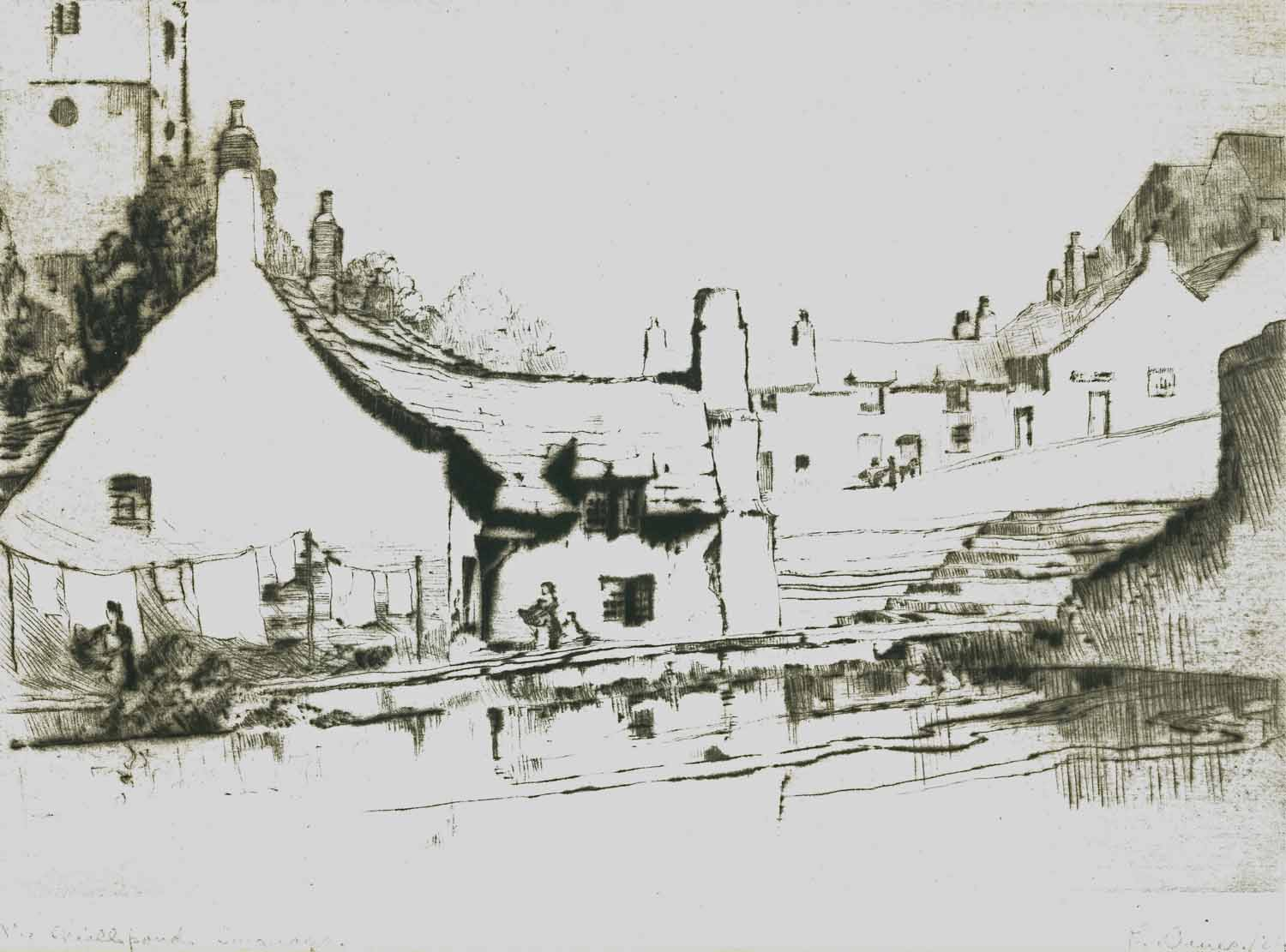 Millpond Swanage, drypoint engraving