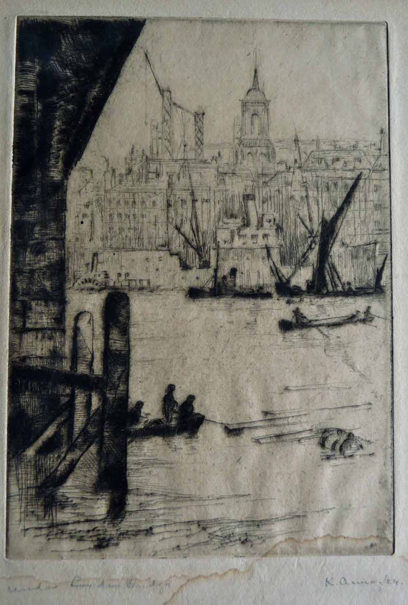 Under London Bridge, 1924 drypoint engraving