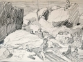 Sark, sketch of rocks & people